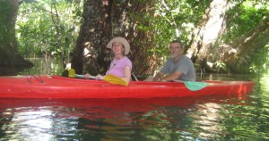Paula and her husband kayaking in Vanuatu